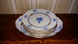 Herend kék Apponyi mintás süteményes készlet 7 db