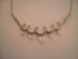 Antik markazitos gyöngyös ezüst nyakék
