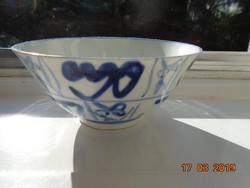 Kobaltkék kézzel festett,stilizált mintákkal, kínai  tál