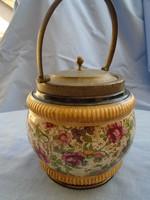XIX. sz. MAJOLIKA tároló edény nysilver szájnyílás peremmel, tetővel és fogantyúval