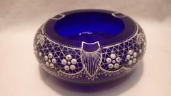 Parádi csipke mintás kék üveg hamutartó