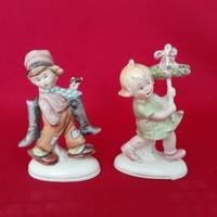 Altwien, német porcelán kislány, kisfiú figura, szobor, nipp ( 2 db)