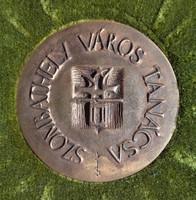 Kiss Sándor (1925-1999) Szombathely város tanácsa bronz plakett dobozában