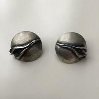 Régi kézműves ezüst klipszes fülbevaló