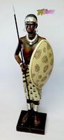 Maláj harcos, népviseletbe öltözött nagy méretű halcsont-műgyanta szobor, a legszebb ajándék