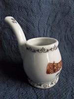 Pipa alakú porcelán emlék nipp, Lehel kürtje motívum, hibátlan