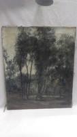 Régi olaj-vászon festmény , erdőbelső