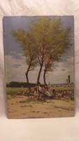 Pörge Gergely olaj - fa életkép festmény . Árnyékban beszélgető juhászok