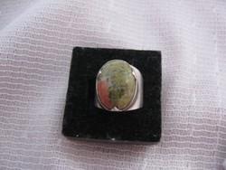 Ezüst gyűrű unakit kövel 17 mm, 7,1 g!!!