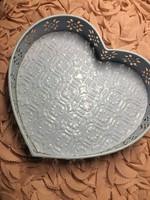 Babakék vintage shabby chic stílusú fém szív kosárka