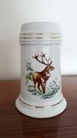 Hollóházi porcelán korsó szarvasos vadászmintás