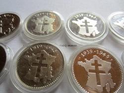 Francia háborús ezüst érme gyüjtemény 8db 1uncia 31gr per érme.