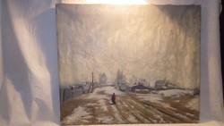 Kapussy György Falusi utca régi olaj-vászon festmény
