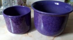 2 db lila kerámia kaspó