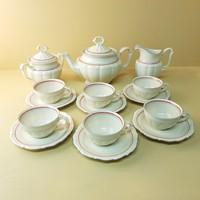 Piros, szürke vonaldíszes, Tielsch-Altwasser porcelán teáskészlet 17 db (624)