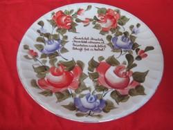 Kolozsvári fali tányér  kézi festésel  , szép szerelmes verssel  24 cm