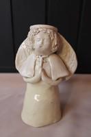 Szemlér Magda jelzett kerámia angyal, gyertyatartó