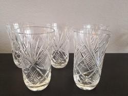 Csiszolt kristály vizespohár 5 db