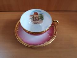 """Csodaszép rózsaszín, aranyozott Eigl Austria lüsztermázas kávéscsésze """"Hainburg"""" látképpel, hibátlan"""