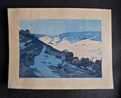 Török Endre - Hófoltos táj, jelzett  linómetszet grafika 1960