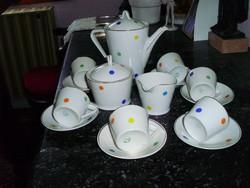 Hollóházi porcelán kávéskészlet (pöttyös)