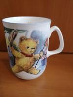 Cuki angol kézműves porcelán macis bögre, hibátlan