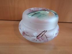 Gyönyörű opálos festett üveg bonbonier/doboz hibátlan