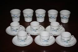 Hollóházi kávés csésze és alj 6 db + pohár 5 db Új!