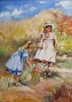 """Szarka Hajnalka """"Kislányok"""" c. keretezett olajfestmény ingyenes házhoz szállítással"""