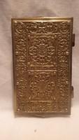 Jelzett antik réz díszes notesz tartó 1929