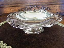 Gyönyörű, jelzett, antik, áttört szélű, kecses, talpas cukorkínáló asztalközép