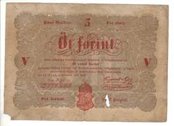 5 Öt forint 1848 Kossuth bankó Piros betű 4.
