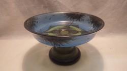 Antik fújt üveg talpas festett tál fás madaras jelenettel