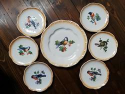 Zsolnay madaras sorszámozott jelzett antik porcelán süteményes készlet 6+1