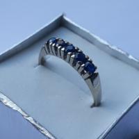 Antik fehér arany zafír gyűrű - jelzett 14 karátos/585