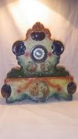 Royal Crown Pottery Tunstall Staff 2 részes majolika kandalló óra