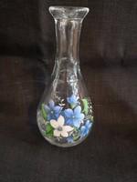 Szép vintage kézzel festett ibolyás üveg karaffa kicsi, hibátlan