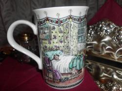 Gyönyörű vékony porcelán forralt boros csésze. 2,5 dl.