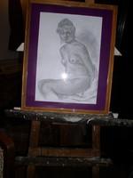 Ülő akt   - Ceruzarajz,. 40 x 29 cm üvegezett keretben- Lehoczky József 2018.   Eredeti, közvetlenül