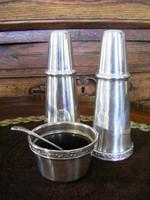 Art deko ezüstözött asztali fűszeres készlet, só bors szóró és egy kis fűszerkrémes vagy egyéb