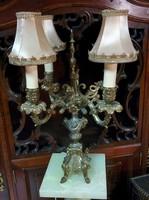 Antik  4-égős réz asztali lámpa
