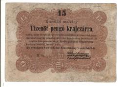 15 pengő krajczárra Kossuth bankó 1848 3.