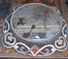 Nagy, kb. 47 cm átmérőjű, öntöttvas tükör-, vagy képkeret, remek, eredeti mázzal