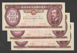 100 forint 1989.   3 db sorszám követő!!  UNC!!