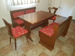 Tömör tölgy étkező garnitúra - pakolható padok, székek, bővíthető asztal