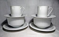 2x2 db ARZBERG GERMANY Csontfehér hosszanti függőleges csíkos díszítésű talpas seveses&kávés csésze