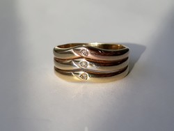 3 színű - rózsa, fehér, sárga arany vastag/tömör gyűrű - gyémánt kövekkel - jelzett