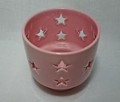 HÖGANAS KERAMIK STENGODS SVERIGE áttört csillagos mintás rózsaszín mázas kerámia mécses tartó