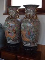 Antik, famille rose,  kínai váza pár! Jelzett!