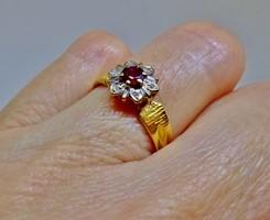 Szépséges antik gyémánt,rubin aranygyűrű
